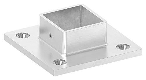 Wandflansch/Bodenanker, Platte ø 90 x 90 x 6mm, für Rohr 40 x 40 x 2mm mit Madenschrauben seitlich
