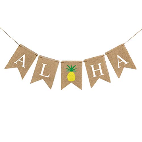 Amosfun ALOHA banners slinger linnen bunting tropische luau partij gunsten hawaïaanse feestdecoratie