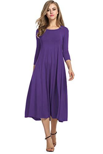 Hotouch Women's A-Line Trapeze Midi Dress (Purple L)