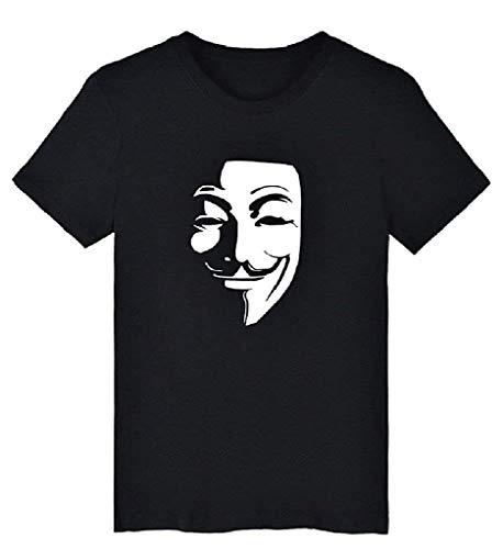 EVRYLON T-shirt V Vendetta korte mouwen voor heren of dames anonymous masker geweldig cadeau idee kleur zwart