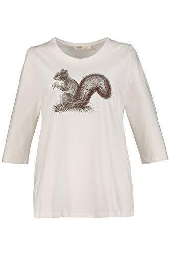 Ulla Popken Camiseta con estampado de ardilla de algodón ecológico de talla grande para mujer 724373 - marfil - 60/62