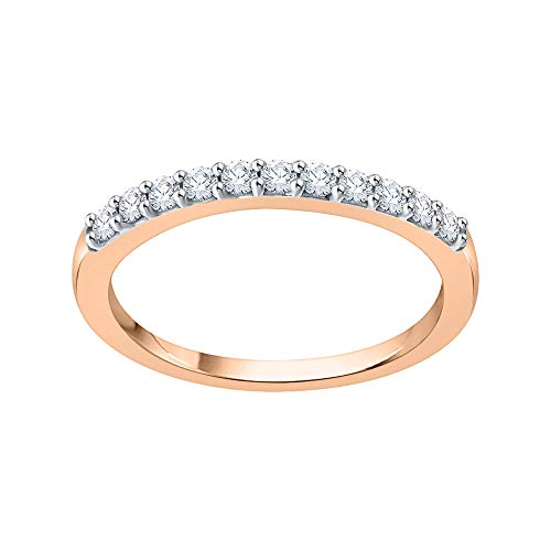 KATARINA Anillo de boda redondo con diamantes engastados en oro de 14 quilates (1/4 quilates, I-J, I1)