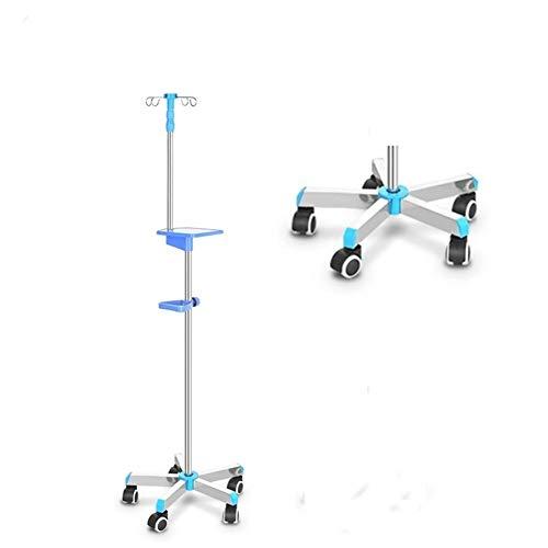Infusionsständer, Edelstahl Boden Multi-Hakentyp Bewegliche Scheibe Höhenverstellbar Drip Rahmen