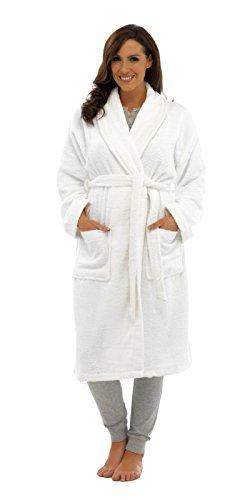 Badjas voor dames, 100% puur katoen, luxe badstof badjas met riem en tassen, nachtkleding voor dames en meisjes