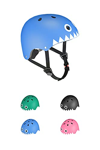KORIMEFA Casco Bicicleta para Niños Casco Infantil Ajustable para Monopatín Patinaje BMX Esquiar, Casco para multibles Deportes niño niña de Edad de 3-13 años (Tiburón Azul, M)