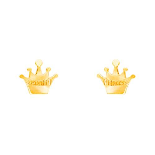 Pendientes con forma de corona de princesa, oro amarillo (375/1000)