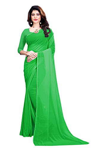 FANCY NINE light_green Georgette Casual Wear Dyed Saree With Unstiched Blouse