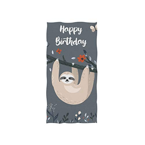 MyDaily Mikrofaser-Handtuch Faultier Happy Birthday, schnell trocknend, für Sport, Fitness, Schweiß, Gesicht, Waschlappen 38,1 x 76,2 cm