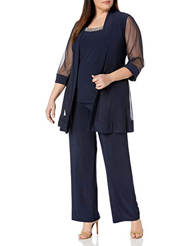 R&M Richards Women's Size Plus Beaded Neck 2 Piece Pant Set, Navy, 22W (Apparel)