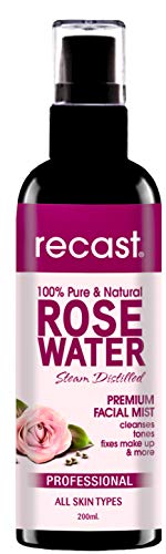 RECAST Rose Water for Face and Hair, 100% Pure and Facial Toner Alcohol-Free Makeup Setting Hydrating Spray Mist 100% Natural Anti-Aging Petal Rosewater (200 ml)