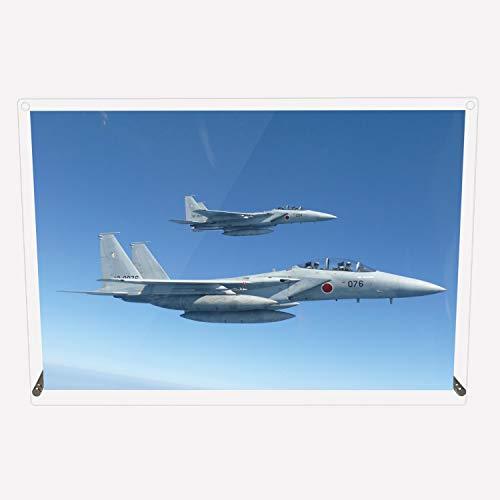 CuVery アクリル プレート 写真 航空自衛隊 戦闘機 第201飛行隊 F-15DJ 2機編隊 デザイン スタンド 壁掛け 両用 約A3サイズ