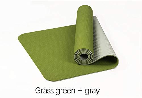 SlimpleStudio Colchoneta Ideal para Yoga, Pilates y Gimnasia,Estera de Yoga de Doble Cara de Color Antideslizante Engrosamiento de 6 mm para Hombres y Mujeres Estera de Fitness-Verde + Gris