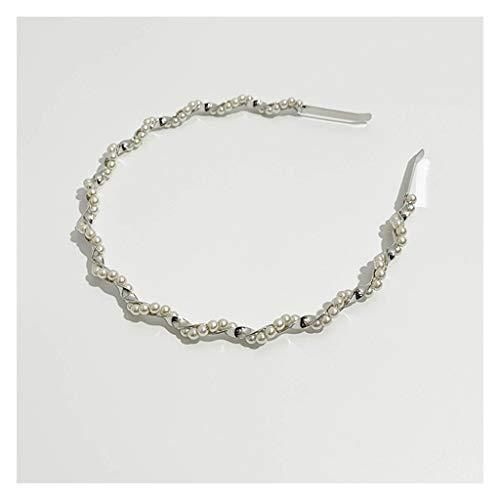 ZYKBB Banda de pelo simple neta roja nueva diadema perla horquilla elegante salida diadema diaria (Color : Silver)