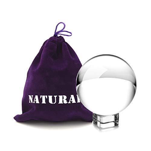 NATURAIS Fotografie Kugel aus K9 Kristall-Glas mit Beutel und Sockel, 80mm Glaskugel, Landschaftsfotografie Zubehör, Kristallkugel für Dekoration