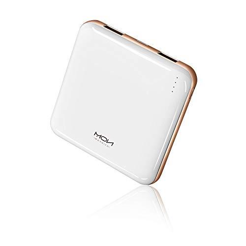 MOXNICE Power Bank 10000mAh Powerbank, Super Leicht Slim Externer Akku mit 2 Ausgänge für Smartphones und Tablets, Geschenke für Männer, Frauen (Weiß)
