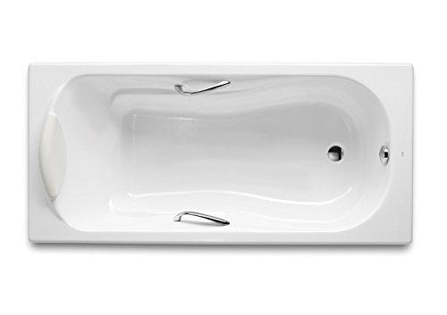 Roca - Bañera de fundición rectangular con fondo antideslizante y asas - Serie Haiti, Color Blanco