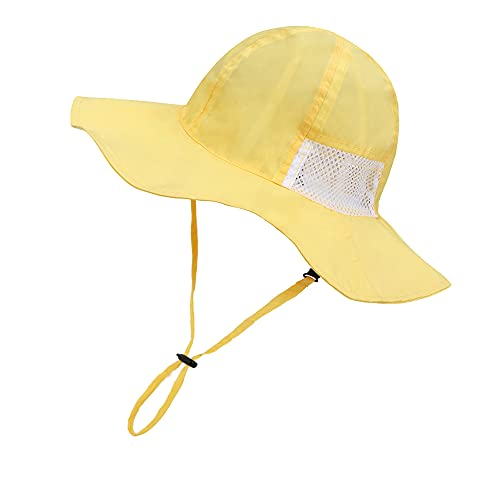 jerague Baby Boy Sun Hat Breathable & Adjustable Kids Toddler Girl Wide Brim Summer Outdoor Beach Hats UPF 50+ Sun Protection Yellow