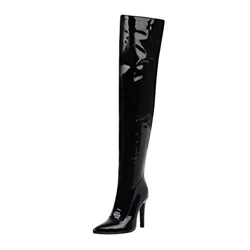 Overknee Stiefel Lack High Heels Stiletto Boots mit Reißverschluss Winter Schuhe(Schwarz,37)