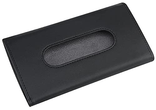 ASFINS Caja de Pañuelos Coche, Caja Porta Pañuelos Coche Caja Pañuelos Papel Dispensador Pañuelos, Hecho de Cuero de PU, para Todos Los Modelos de Coche, 23 x 13 x 3cm (Negro)