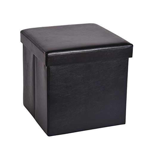 XU JIA 138 inches Storage Ottoman Cube Foldable Faux Leather Footrest Stool with Padded Seat Max Load 350lbs Black