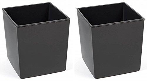 Kreher 2 Stück XXL Design Pflanzkübel aus Kunststoff in Hochglanz Grau mit Herausnehmbaren Einsatz. Maße BxTxH in cm: 40 x 40 x 41 cm