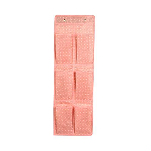 yuery 2/4/6/9/12 bolsillos 5 tipos de calcetines multiusos para zapatos, ropa interior, bolsas de almacenamiento para dormitorio, puerta o pared, armario organizador tipo 1, color rosa, 6 bolsillos