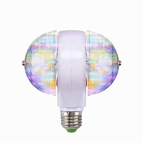 Luz de Escenario, E27 RGB LED Disco Luces de Escenario Bombilla de Bola Lámpara de Efecto de Fiesta giratoria de 2 Cabezales Luces de Hadas RGB LED Luz de Escenario(Enchufe de 220V UE)