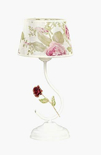 Florale Tischleuchte Textil Schirm Creme Weiß H:36cm Blumen E27 Nachttischlampe Landhausstil