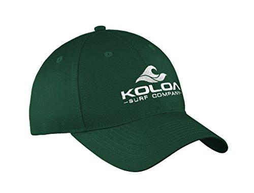 Koloa Surf 3' Wave Logo'Old School' Curved Bill Solid Snapback Hat -Forest/w