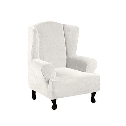 Zoyay Funda de sillón orejero elástica con Orejas Fundas sillón Relax Protector de Muebles Reclinable Fundas Sala Sofa Cuero Artificial para Butacas 1 Plaza-Blanco