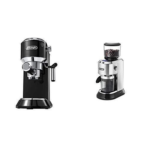 【セット買い】デロンギ(DeLonghi) エスプレッソ・カプチーノメーカー ブラック デディカ EC680BK & デディカ コーン式コーヒーグラインダー 極細~粗挽き [粒度18段階設定] KG521J-M