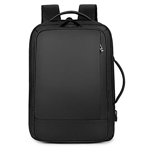 Lpiotyubeib Mochila, Mochila Hombres Mochila de Carga USB del Ordenador portátil de 15.6 Pulgadas del Paquete de Soporte Impermeable de Carga del USB de Bolsas de Viaje Mochila (Color : Black)