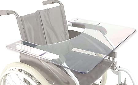 SoNa24 Therapietisch MPB   Rollstuhltisch   Therapieplatte   Armauflagetisch für Rollstuhl - Plexiglas universal aufschiebbar auf die Armlehnen   PET 6mm mit Bauchausschnitt