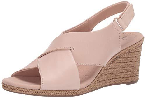 Clarks Women's Lafley Alaine Wedge Sandal, Blush Leather, 8.5 M US