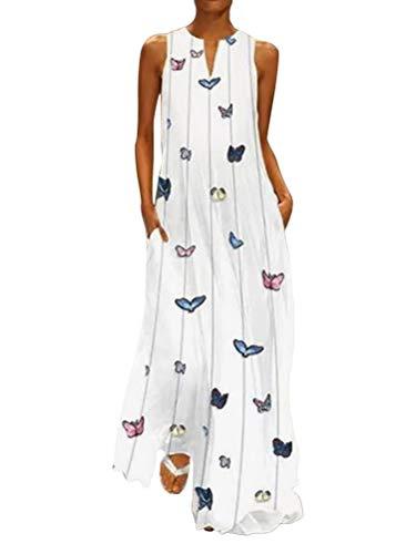 Minetom Damen Sommerkleid Lang Elegant Schick Große Größen Ärmellose Maxikleid Schmetterling Muster Casual Cool Leichte Kleider Mit Tasche D Weiß DE 46