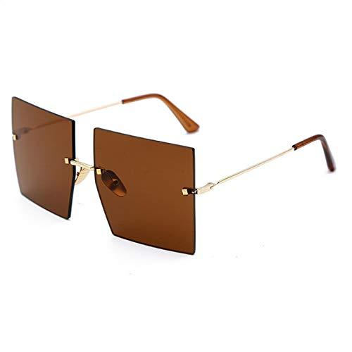 Único Gafas de Sol Sunglasses Gafas De Sol Cuadradas Sin Montura De Gran Tamaño para Mujer, Lujo, Parte Su