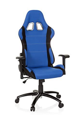 hjh OFFICE Gaming-Stuhl Game Force Stoff, Armlehnen, Ergonomischer Sportsitz, Kopfstütze, Höhenverstellbar, Zocker-Sessel (blau/schwarz, Stoff)