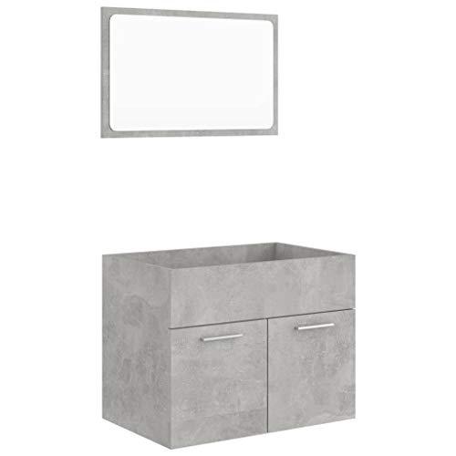 vidaXL Juego de muebles de baño de 2 piezas para lavabo, espejo de baño, lavabo, armario de baño, armario de baño, armario de madera aglomerada, color gris