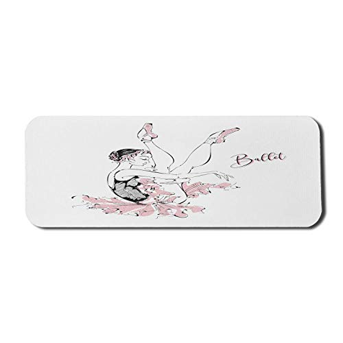 Ballett Computer Mouse Pad, Skizze Zeichnung der jungen Ballerina mit Flourish Tutu und Tanzschuhen, Rechteck rutschfeste Gummi Mousepad große Rose schwarz weiß