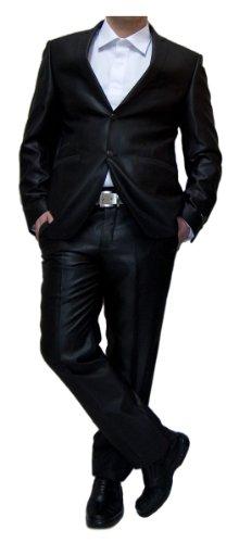 Paco Romano Designer Anzug Herren leicht glänzend tailliert Schwarz Herrenanzug Sakko mit Hose Größe 58 XXL