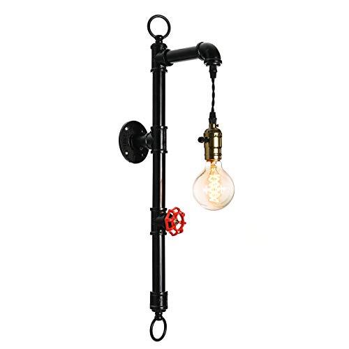 OYIPRO Vintage Wandleuchte Rohr Wandlampe Industrielampe E27 Lampenfassung Metall Schwarz mit Dekorativ Schalter für Café Wohnung Küche Bar Arbeitzimmer Esssaal Keller Kopfende