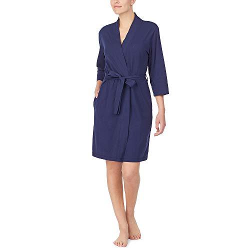 Nautica Women's 100% Cotton Jersey Robe, Navy, 2X