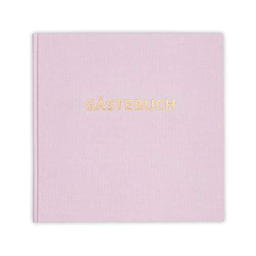 bigdaygraphix Gästebuch ohne Fragen - quadratisch 21x21cm mit Gold-Folie - Leinen - für Hochzeit...