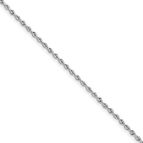 Diamond2deal Tobillera de Cadena de Cuerda de Oro Blanco de 14K con Cierre de Mosquetón 22,9cm
