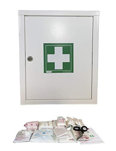 FLEXEO Erste-Hilfe-Schrank mit Füllung nach DIN 13157, abschließbar, aus Metall, zur Wandmontage
