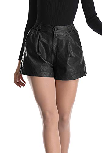 Uusollecy Damen Kunstleder Hohe Taille Shorts