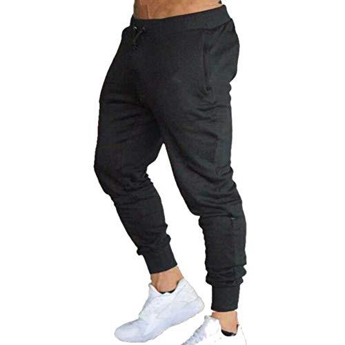 N\P Men's Jogging Pants, Gym Sweatpants, Casual Jogging Stretch Pants with Pockets for Bodybuilding Black