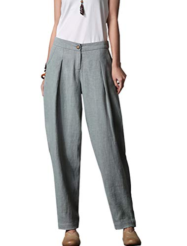 Minibee Women's Casual Linen Pants Elastic Waist Tapered Pants Trousers with Pockets Light Blue XL