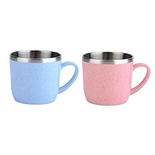 Mosako - Taza de café de acero inoxidable con pajita de trigo, taza de zumo de agua, taza de leche para viajes, hombre y mujer (azul + rosa)