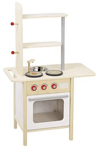 roba Spielküche Holz Kinderküche weiß/Natur, Spielzeug-Küchenzeile mit 2 Kochstellen, Spüle, Wasserhahn 9828R